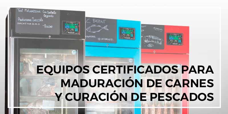 Maquinaria de curación y maduración certificada. Equipos certificados para maduración de carnes y curación de pescados
